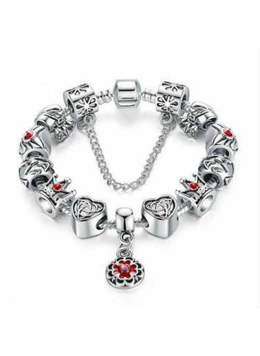 Angemiel Kalp Çanta Taç Aşk Gümüş Charm Bileklik Gri